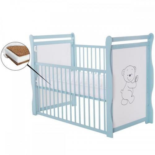 Patut din lemn Jas Ursulet 120x60 cm - cu laterala culisanta - Mint + Saltea 12 cm - Camera bebelusului - Patut copii