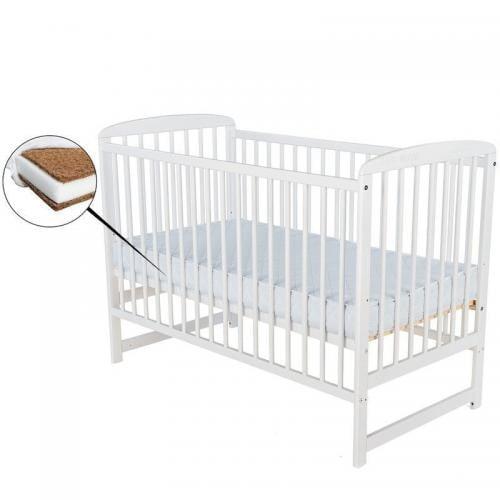 Patut din lemn Ola - 120X60 cm - Alb+ Saltea 12 cm - Camera bebelusului - Patut copii