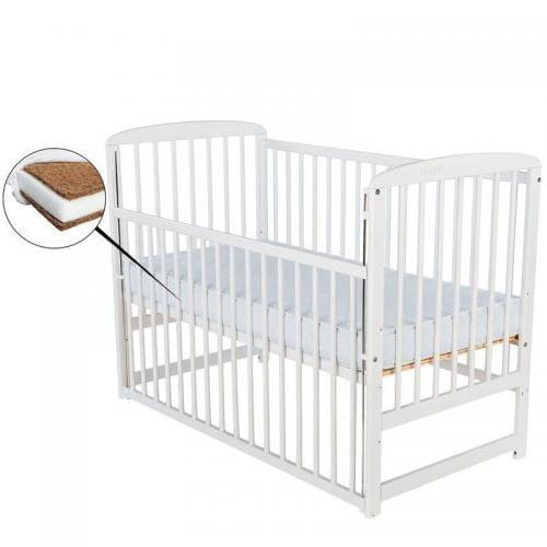 Patut din lemn Ola 120x60 cm - cu laterala culisanta - Alb+ Saltea 12 cm - Camera bebelusului - Patut copii