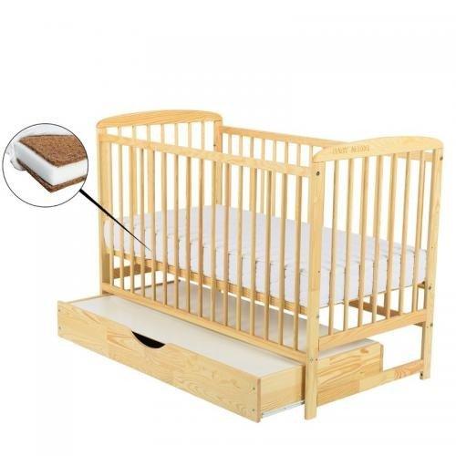 Patut din lemn Ola 120x60 cm cu sertar Natur + Saltea 10 cm - Camera bebelusului - Patut copii