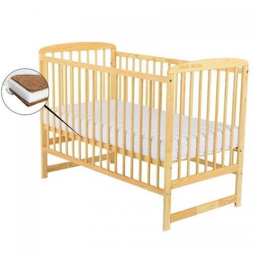 Patut din lemn Ola 120x60 cm - Natur+ Saltea 8 cm - Camera bebelusului - Patut copii