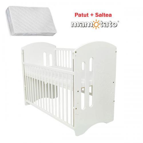 Patut din lemn Orsetto cu laterala culisanta + Saltea Cocos - Camera bebelusului - Patut copii