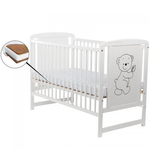 Patut din lemn Timmi 120x60 cm - Alb + Saltea 8 cm - Camera bebelusului - Patut copii