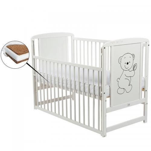 Patut din lemn Timmi 120x60 cm - cu laterala culisanta - Alb+ Saltea 8 cm - Camera bebelusului - Patut copii