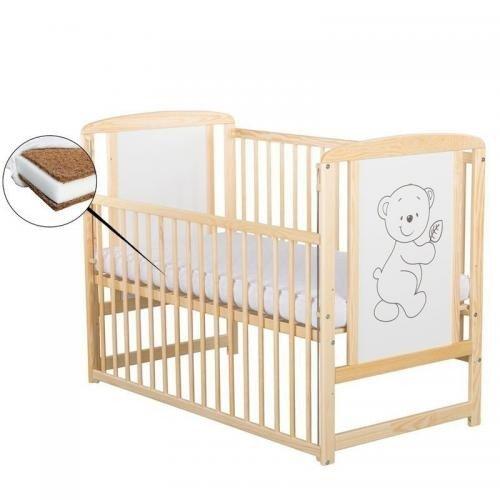 Patut din lemn Timmi 120x60 cm - cu laterala culisanta - Natur + Saltea 8 cm - Camera bebelusului - Patut copii