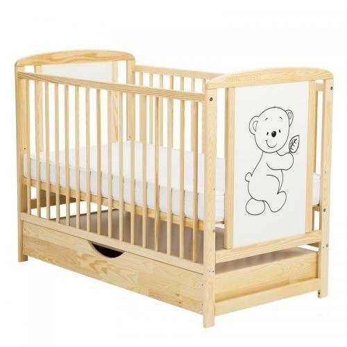 Patut din lemn Timmi 120x60 cm cu sertar Natur - Camera bebelusului - Patut copii