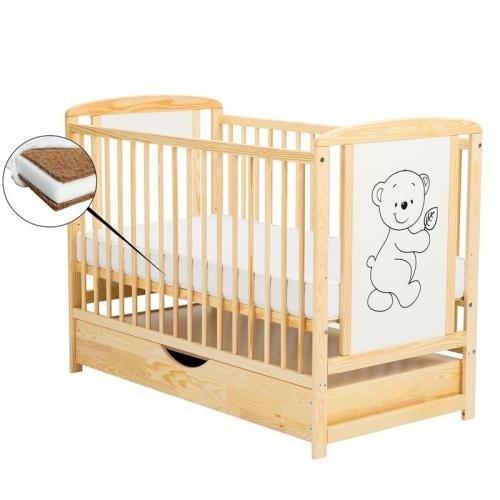 Patut din lemn Timmi 120x60 cm cu sertar Natur + Saltea 10 cm - Camera bebelusului - Patut copii