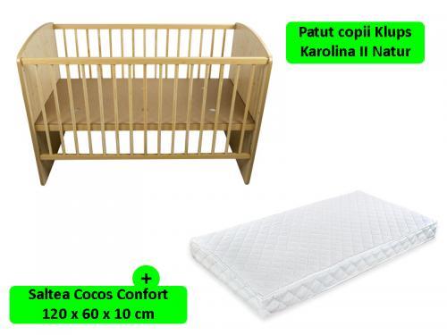 Patut KLUPS Karolina II Natur + Saltea 10 MyKids Confort II - Camera bebelusului - Patut copii