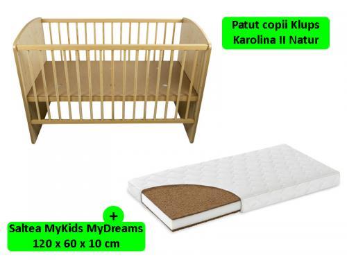 Patut Klups Karolina II Natur + Saltea 10 MyKids MyDreams II - Camera bebelusului - Patut copii
