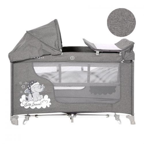 Patut moonlight 2 niveluri si balansoar - grey luxe - Camera bebelusului - Patut pliabil