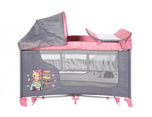 Patut moonlight 2 niveluri si balansoar - pink travelling - Camera bebelusului - Patut pliabil