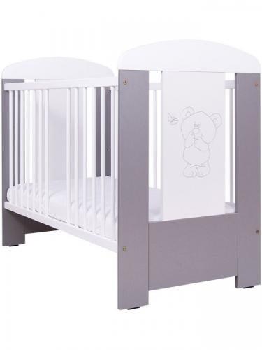 Patut pentru bebe - bear & butterfly - silver + saltea cocos spuma cocos120 x 60 cm - Camera bebelusului - Patut copii