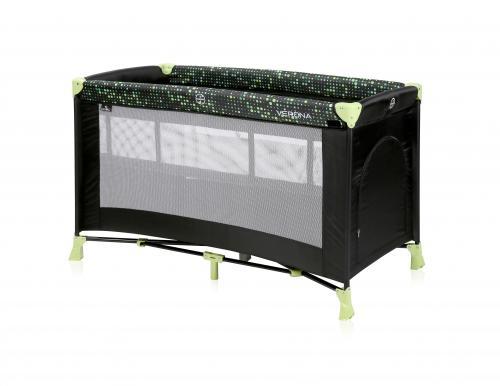 Patut pliabil - verona - 2 nivele - black & green dots - Camera bebelusului - Patut pliabil