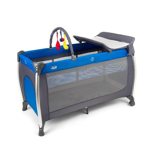 Patut pliant 2 niveluri Juju Sweet Naps - Albastru-Gri - Camera bebelusului - Patut pliabil