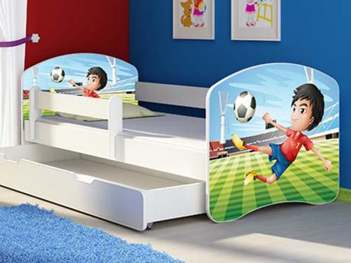 Patut Tineret MyKids Fotball cu Sertar si Saltea 140x70 - Camera bebelusului -