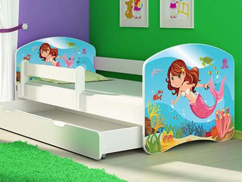 Patut Tineret MyKids Mermaid cu Sertar si Saltea 140x70 - Camera bebelusului -
