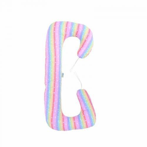 Perna 3 in 1 pentru gravide si bebelusi Soft - Dungi multicolore - Perna bebelusi -