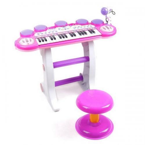 Pian cu microfon ecotoys bb45d roz - Jucarii bebelusi - Jucarie muzicala