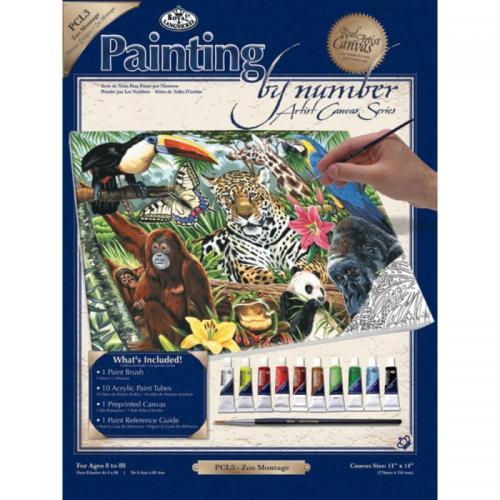 Pictura pe panza 28x36x25-Montaj Zoo - Rechizite - Pictura si desen