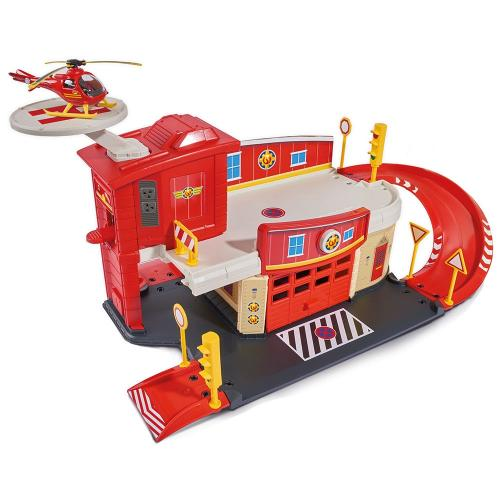 Pista de masini Dickie Toys Fireman Sam Fire Rescue Center cu elicopter si accesorii - Jucarii copilasi - Avioane jucarie