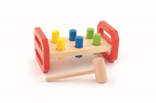 Placa pentru batut cu ciocanel si dibluri din lemn - Jucarii Montessori -