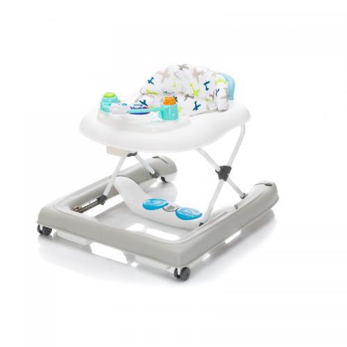 Premergator cu jucarie white grey Plane Fillikid - Plimbare bebe - Premergator copii