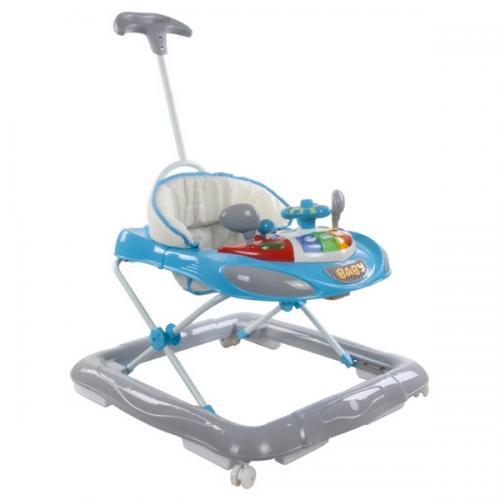 Premergator sun baby cu maner - sunete si lumini 006 - blue grey - Plimbare bebe - Premergator copii