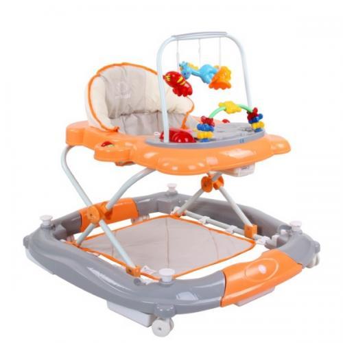 Premergator sun baby pisicuta 011 cu functie de balansoar - orange grey - Plimbare bebe - Premergator copii