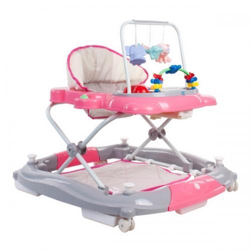 Premergator sun baby pisicuta 021 cu functie de balansoar - pink grey - Plimbare bebe - Premergator copii