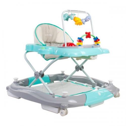 Premergator sun baby pisicuta 021 cu functie de balansoar - turquoise grey - Plimbare bebe - Premergator copii
