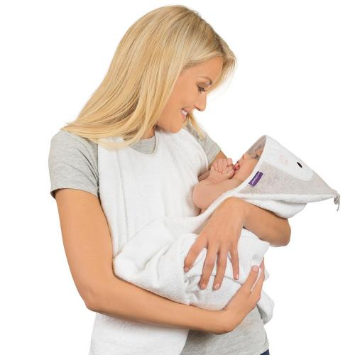 Prosop de baie pentru bebelus si mama Bamboo Penguin white Clevamama - Igiena ingrijire -
