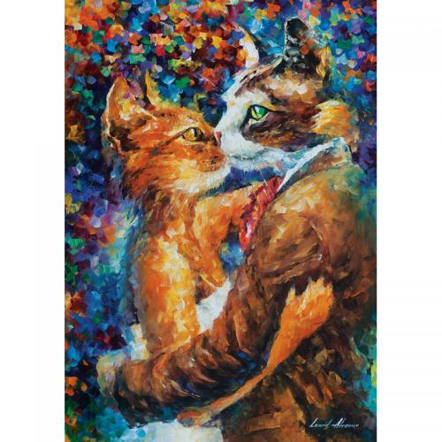 Puzzle 1000 piese - Dance Of The Cats In Love-Leonid Afremov - Jocuri pentru copii - Jocuri cu puzzle