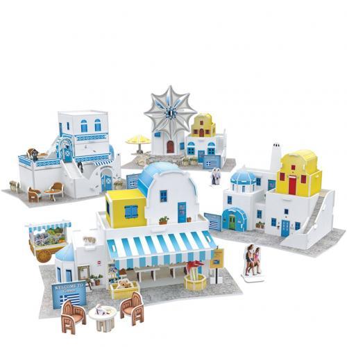 Puzzle 3D Case traditionale din Grecia - Jocuri pentru copii - Jocuri cu puzzle