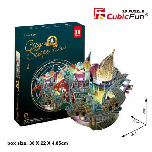 Puzzle 3D - Cityscape New York (cu LED) - Jocuri pentru copii - Jocuri cu puzzle