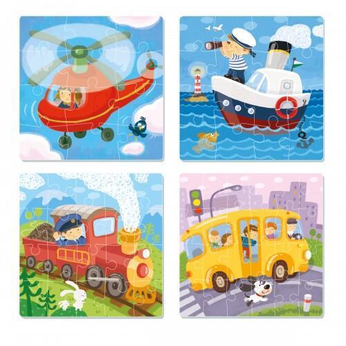 Puzzle 4 in 1 - Vehicule (12 - 16 - 20 - 24 piese) - Jocuri pentru copii - Jocuri cu puzzle
