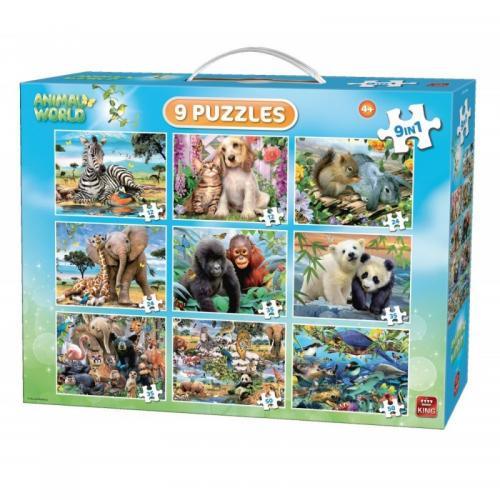 Puzzle 9 in 1 Animale - Jocuri pentru copii - Jocuri cu puzzle