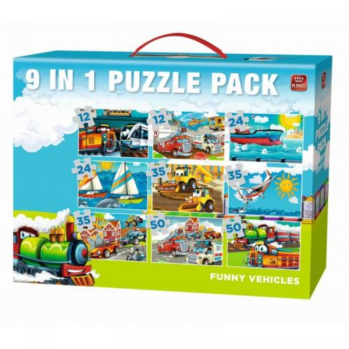 Puzzle 9in1 Funny Vehicules 1 - Jocuri pentru copii - Jocuri cu puzzle