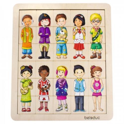 Puzzle Amesteca Si Potriveste Copiii Lumii - Beleduc - Jucarii copilasi - Jucarii educative bebe
