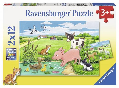 Puzzle animale la ferma - 2x12 piese - Jocuri pentru copii - Jocuri cu puzzle