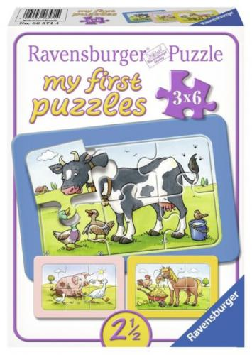 Puzzle animale prieteni - 3x6 piese - Jocuri pentru copii - Jocuri cu puzzle