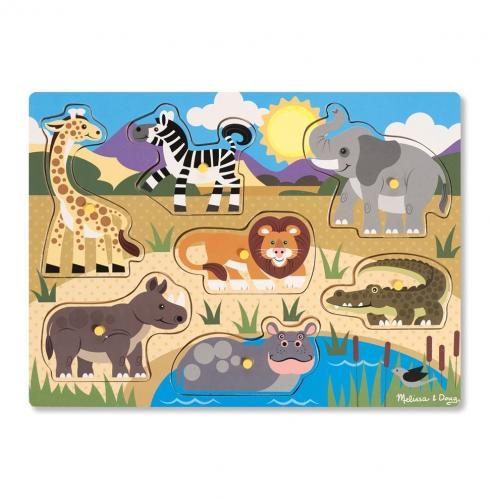 Puzzle Din Lemn Animalele Safari - Jucarii copilasi - Jucarii educative bebe