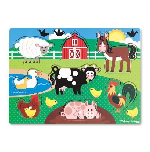 Puzzle Din Lemn Ferma Animalelor - Jucarii copilasi - Jucarii educative bebe