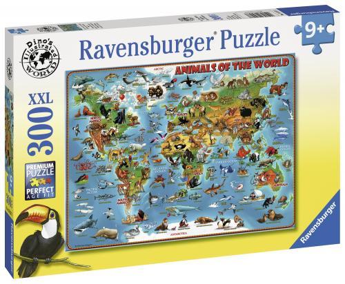 Puzzle Harta Animalelor - 300 Piese - Jocuri pentru copii - Jocuri cu puzzle