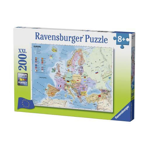 Puzzle Harta Europei - 200 Piese - Jocuri pentru copii - Jocuri cu puzzle