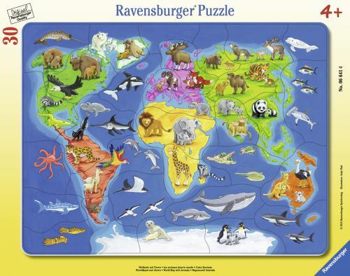 Puzzle Harta Lumii Cu Animale - 30 Piese - Jocuri pentru copii - Jocuri cu puzzle