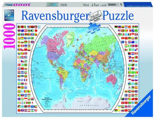 Puzzle Harta Politica A Lumii - 1000 Piese - Jocuri pentru copii - Jocuri cu puzzle