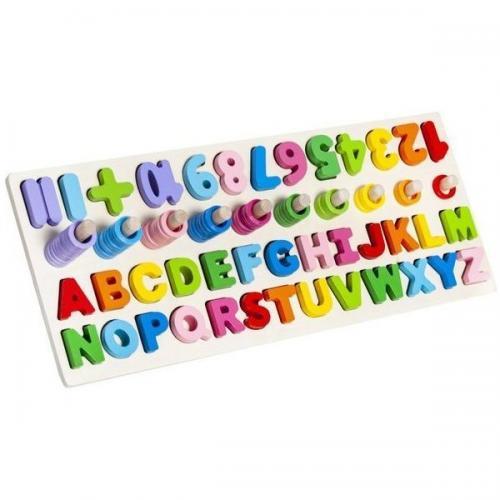 Puzzle lemn cu cifre si litere Iso Trade MY17385 - Jocuri pentru copii - Jocuri cu puzzle