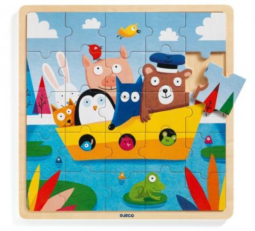 Puzzle lemn djeco - toti in barca - Jocuri pentru copii - Jocuri cu puzzle