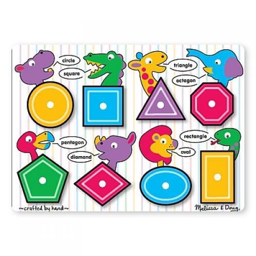 Puzzle Lemn Forme Geometrice Melissa And Doug - Jucarii copilasi - Jucarii educative bebe