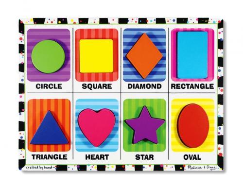 Puzzle Lemn In Relief Forme Geometrice Melissa And Doug - Jucarii copilasi - Jucarii educative bebe
